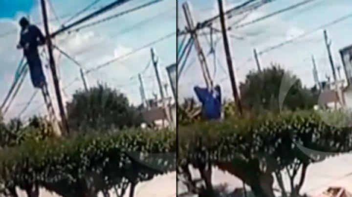 Operario murió electrocutado en la cima de poste de luz