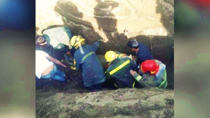 Se lo tragó la tierra: Agónico rescate de los Bomberos de Senillosa