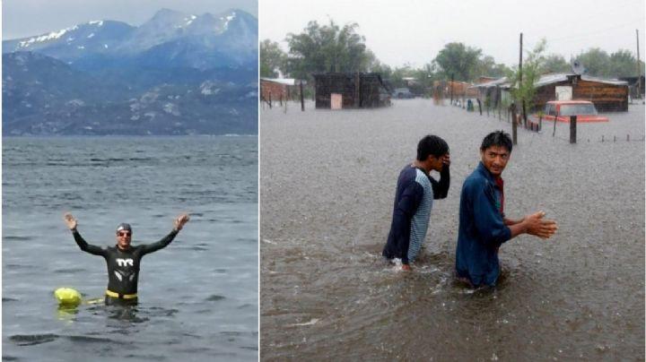 El secretario de Política Hídrica se fue a nadar, en medio de las inundaciones en el Litoral