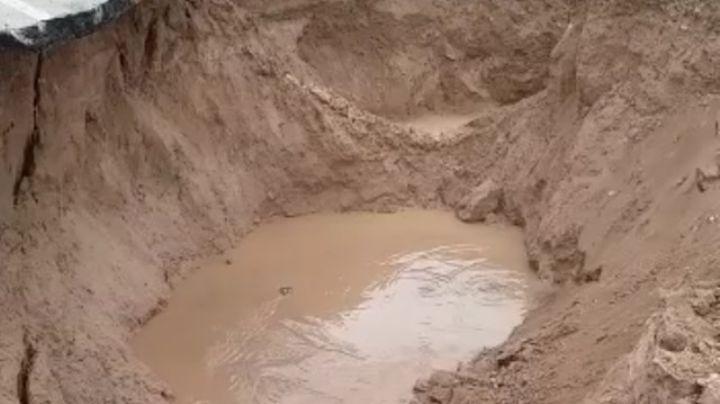 ¡El video! : Así está el cráter de la ruta 7 en Neuquén ahora. Mirá