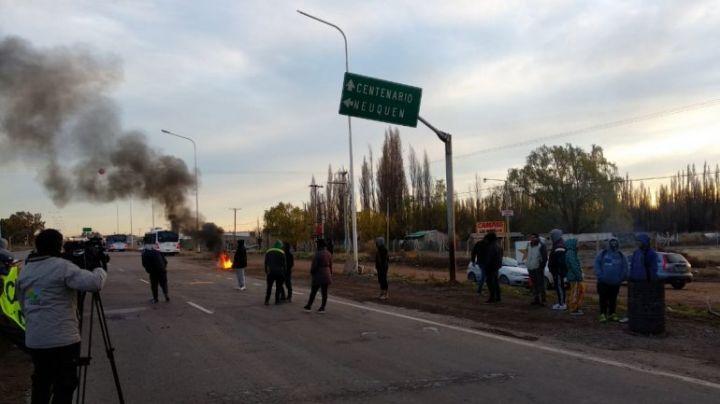 Protesta de UOCRA sobre la ruta 22
